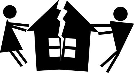 Man and woman halve their house.